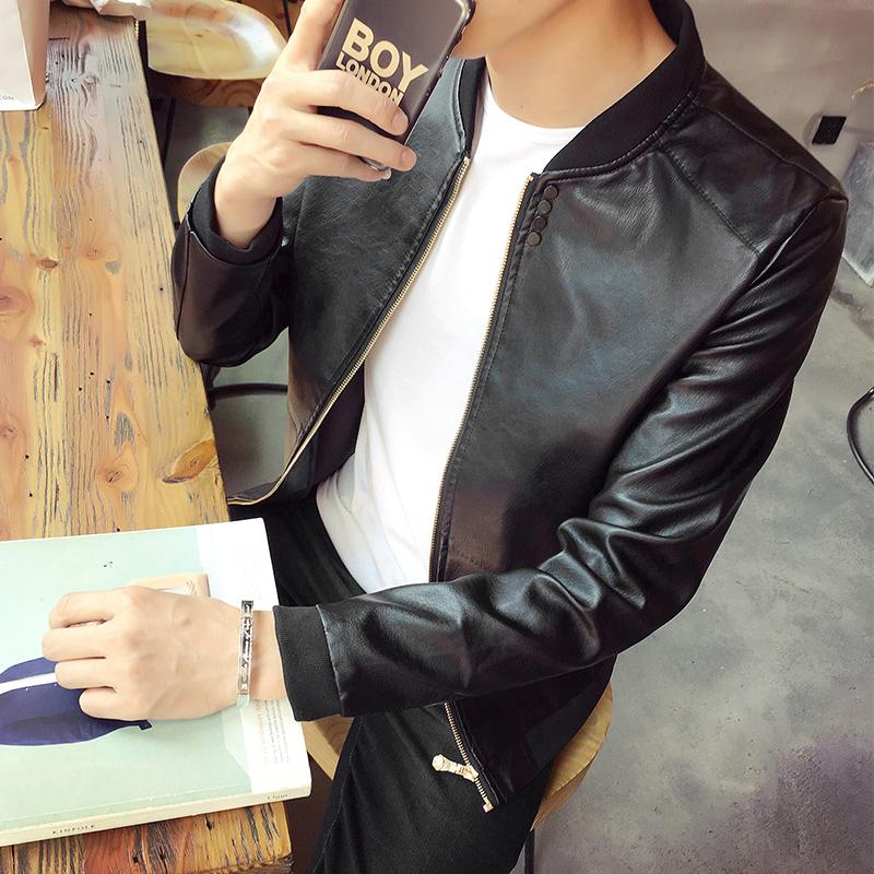 男士皮衣外套春秋季韩版修身潮短款青年立领男装秋装机车皮衣夹克