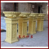 砂岩浮雕歐式花盆花缽柱墩基座園林景觀擺件玻璃鋼雕塑裝飾石材