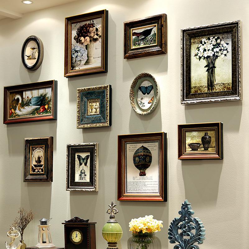 美式相框照片墙 家居装饰墙面装饰相框挂墙 复古实木相框结婚礼物