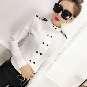 欧洲站2019春季新款衬衫女长袖肩章打底衫韩版修身显瘦时尚女装潮