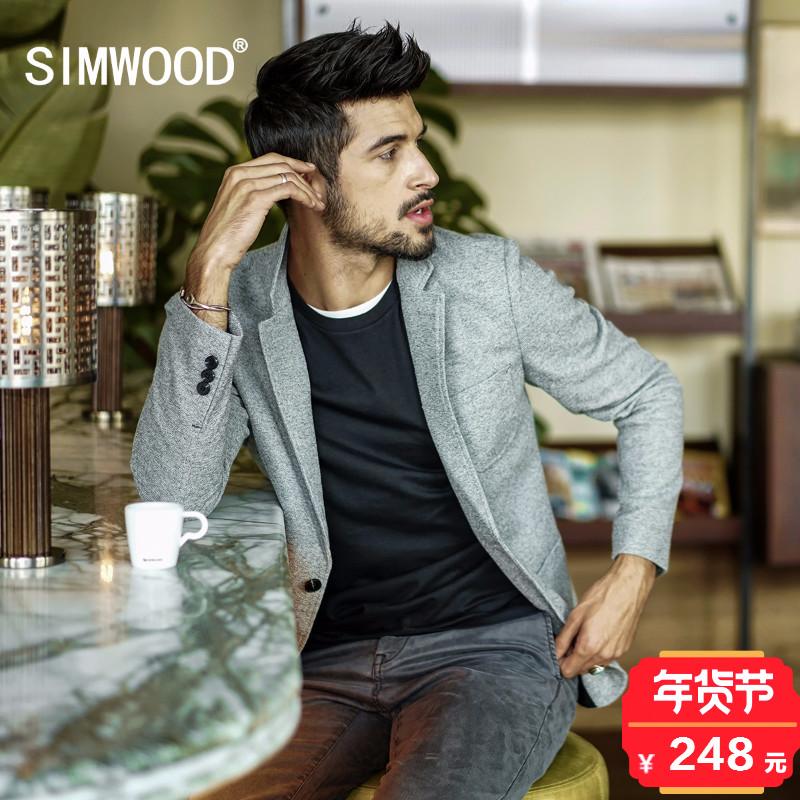 Simwood简木男装2017秋冬新款酵洗两粒扣修身小西装男士休闲西服