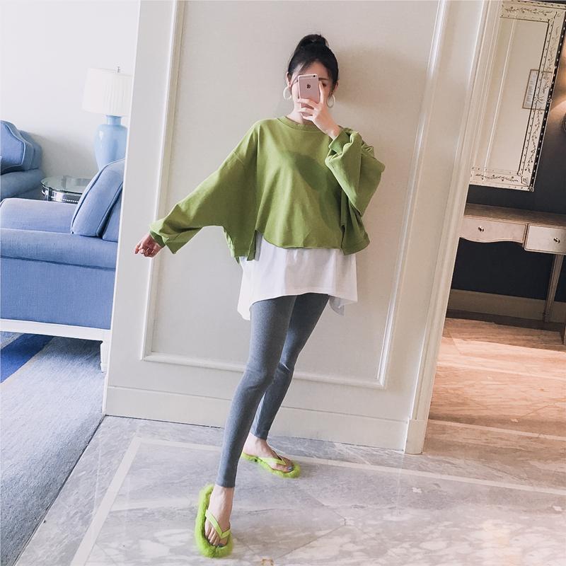 孕妇装2019秋装新款韩版圆领拼接撞色时尚宽松孕…