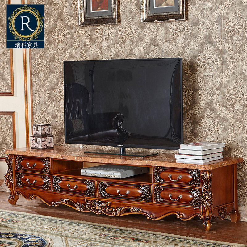 European style marble TV cabinet, solid wood carving, flower tea, TV cabinet combination, new classical storage, ground cabinet, living room furniture