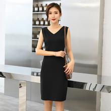 2021春秋季lq4式韩款无xc黑色V领修身显瘦内搭打底背心裙女