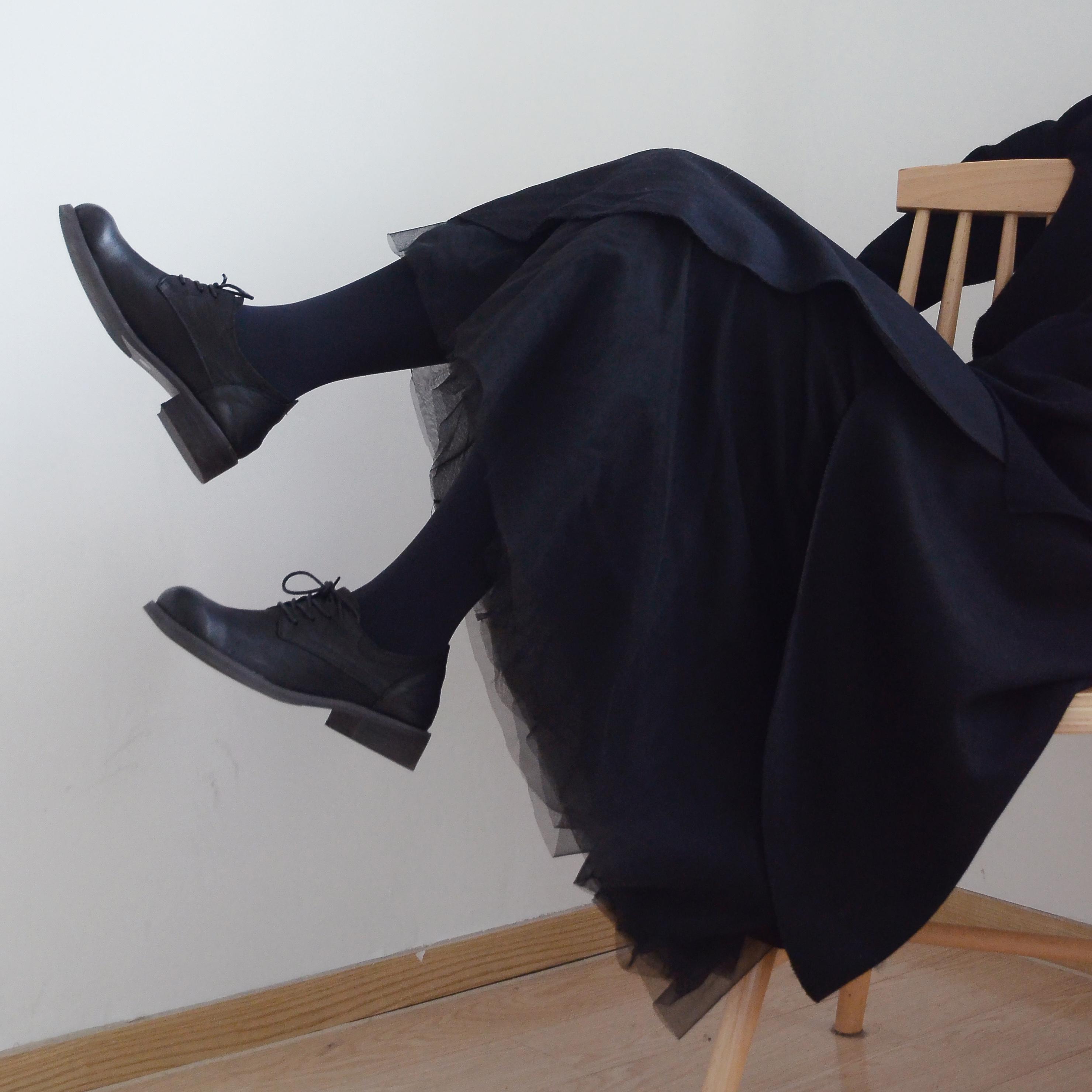 白描/设计师款 日系复古不规则松紧羊毛呢拼接网纱裙冬季半身裙