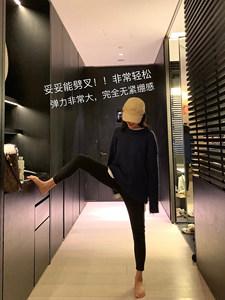 牛仔裤女修身休闲百搭高腰显瘦直筒长裤春秋小黑裤紧身黑色小脚裤