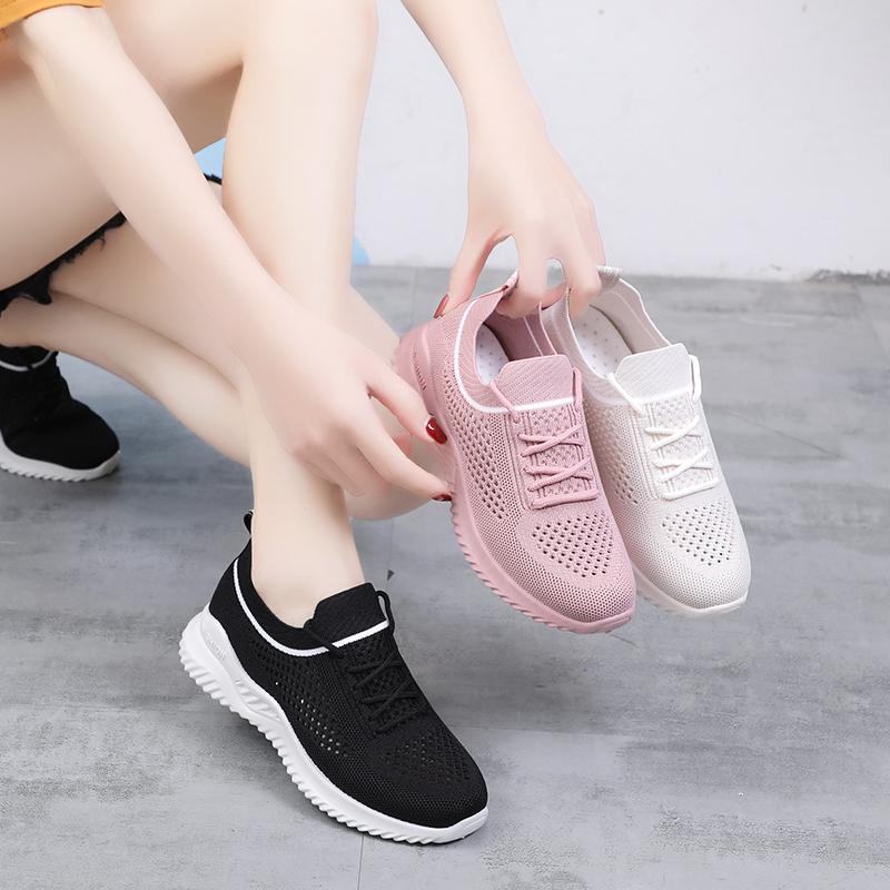 运动鞋女2019夏款飞织镂空网面透气百搭休闲女鞋轻便健身跑步鞋子