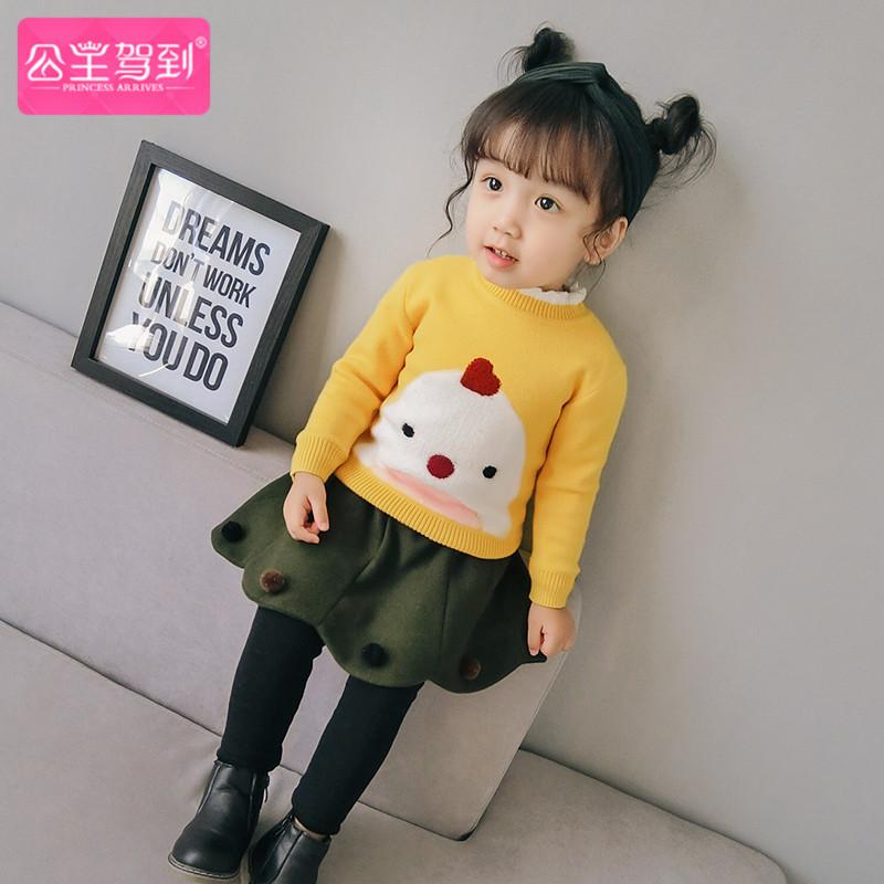 女宝宝毛衣套头加绒秋冬儿童打底衫加厚小童1-3岁0婴儿女童针织衫