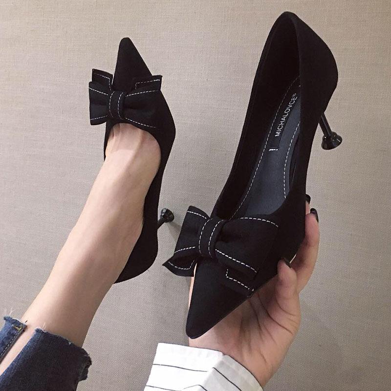 2019春秋新款百搭网红法式少女高跟鞋女细跟尖头猫跟5cm单鞋秋款