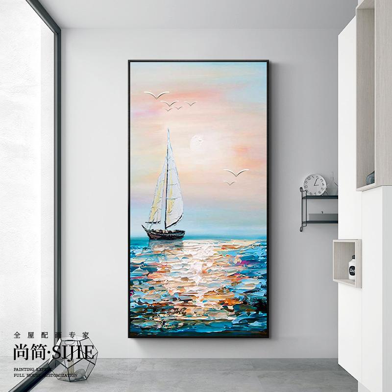 过道走廊挂画竖版厚油抽象壁画纯手绘客厅油画玄关装饰画一帆风顺
