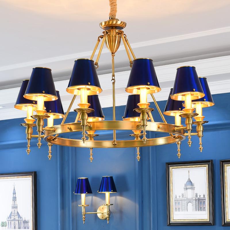 全铜客厅吊灯 美式简约创意个性餐厅卧室设计师艺术灯具全铜灯罩-80后的灯饰路