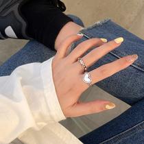 复古做旧爱心戒指女小众设计ins潮嘻哈冷淡风高级食指戒时尚个性