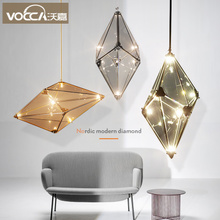 Nordic lighting living room creative personality decorative diamond lamp simple and simple modern light luxury bar staircase restaurant chandeliers