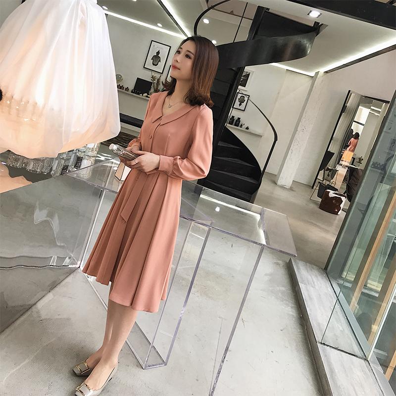 未央定制 2018年秋季女装韩版修身显瘦时髦气质裙时尚优雅连衣裙