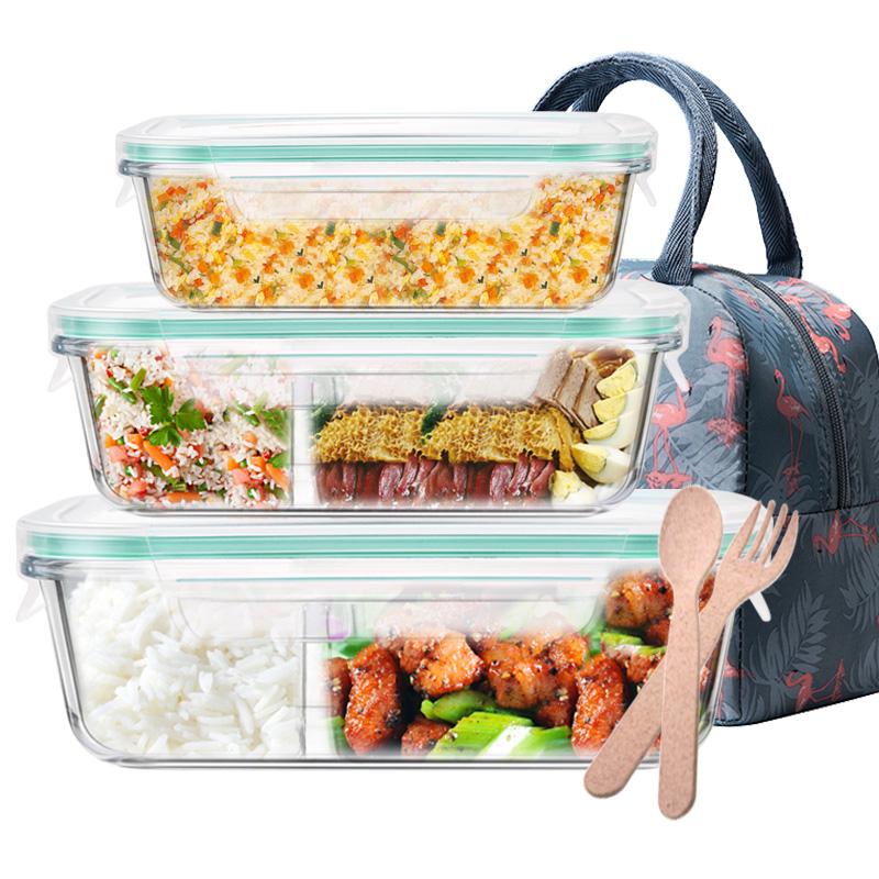 微波炉饭盒便当盒带分隔上班族保温饭盒微波炉加热饭盒玻璃碗带盖