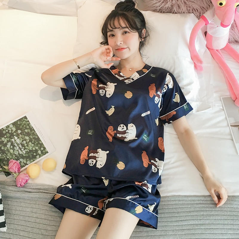 冰丝睡衣女士夏季可爱学生薄款真丝绸短袖两件套装韩版春秋家居服