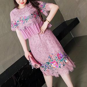 GLEC大码女装 胖mm夏季小香风镂空蕾丝拼接网纱荷叶边刺绣两件套