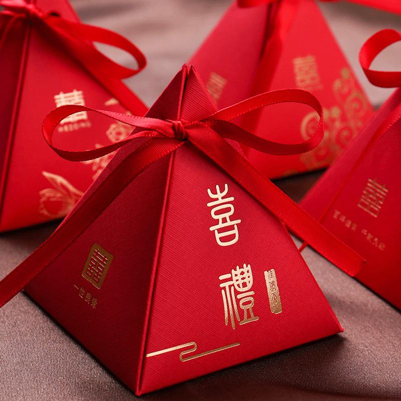 结婚伴手礼三角喜糖盒中式新款喜糖袋婚礼大号糖果包装回礼纸盒