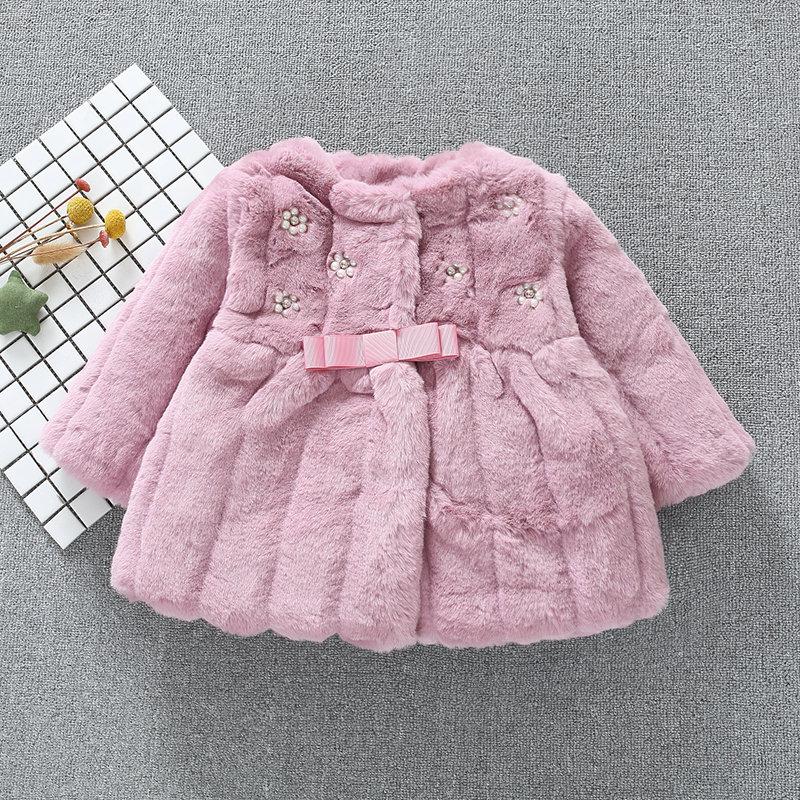 儿童仿皮草外套女童短款皮草棉衣大衣加厚女宝宝加绒棉服韩版冬装