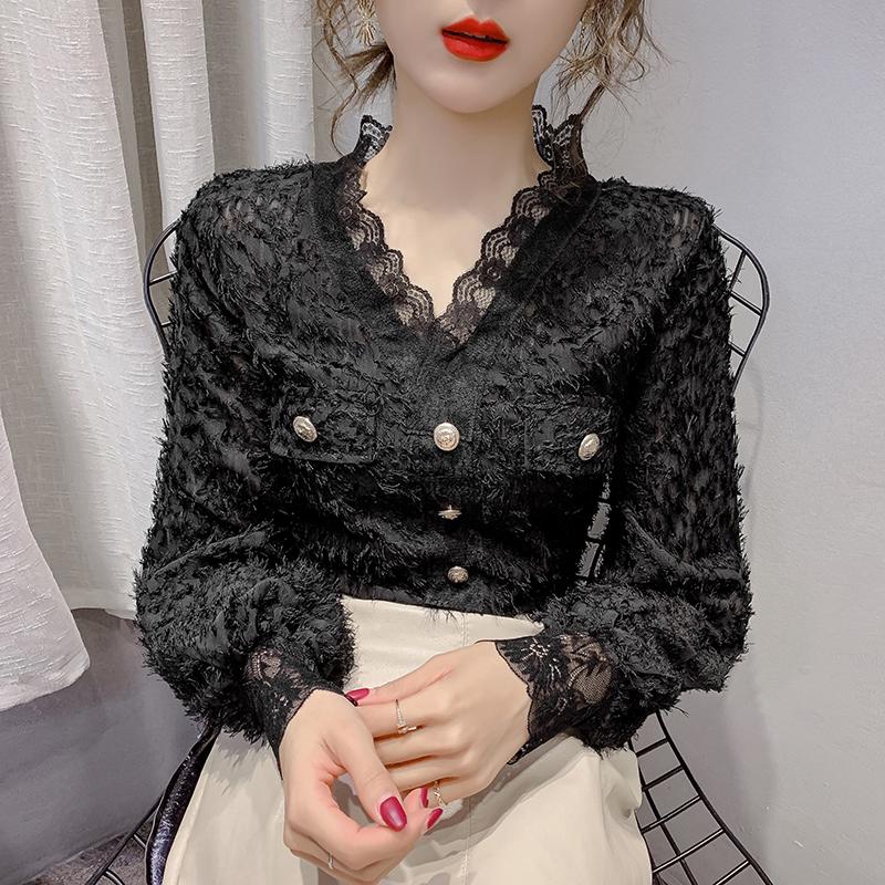 实拍2930#2020春季新款长袖V领蕾丝衫女百搭纯色流苏开衫衬衣-依娜阁-
