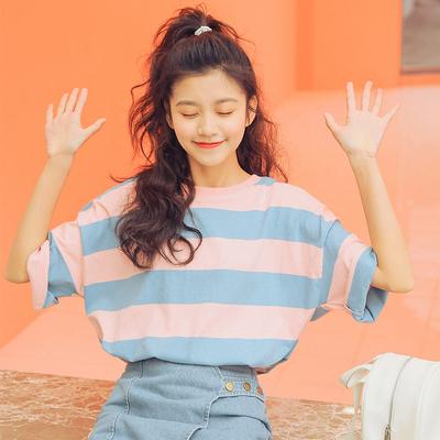 2018夏装新款韩版t恤女短袖学生百搭撞色粗条纹上衣小清新学院风 拍下59元包邮