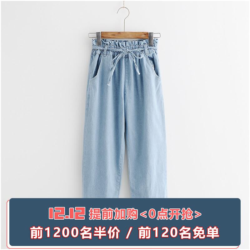 浅蓝色九分牛仔裤女宽松ins超火裤子2018夏装新款哈伦裤薄款女裤