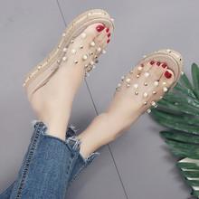 外穿坡跟拖鞋女夏20218a9款时尚水nv底拖鞋透明一字拖凉鞋女