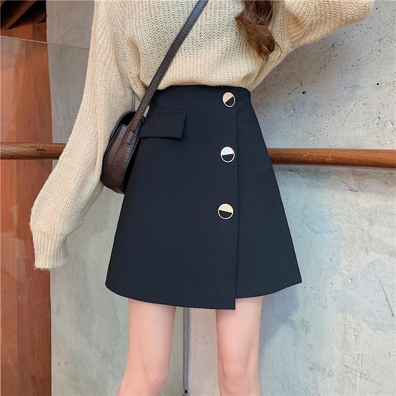 实拍实价2020春款百搭半身裙女气质不规则短裙高腰显瘦A字裙-巴黎新裁缝-