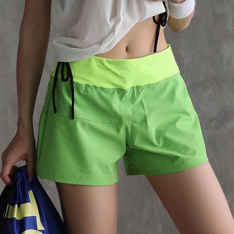 春夏速干宽松假两件运动短裤防走光透气健身裤女薄款瑜伽裤热裤新