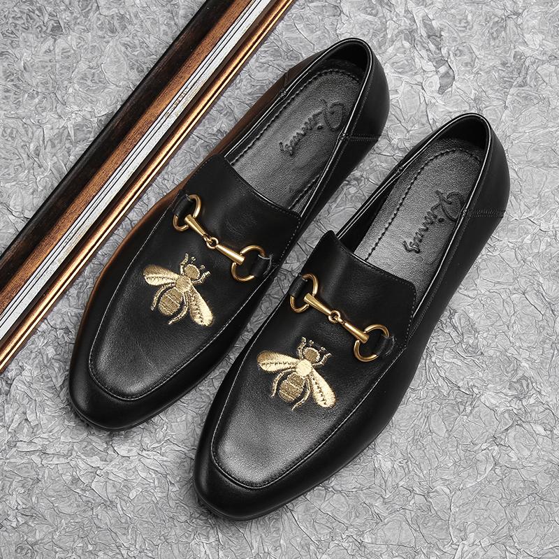 新款刺绣街头风格男鞋一脚蹬时尚休闲皮鞋百搭真皮豆豆鞋男鞋
