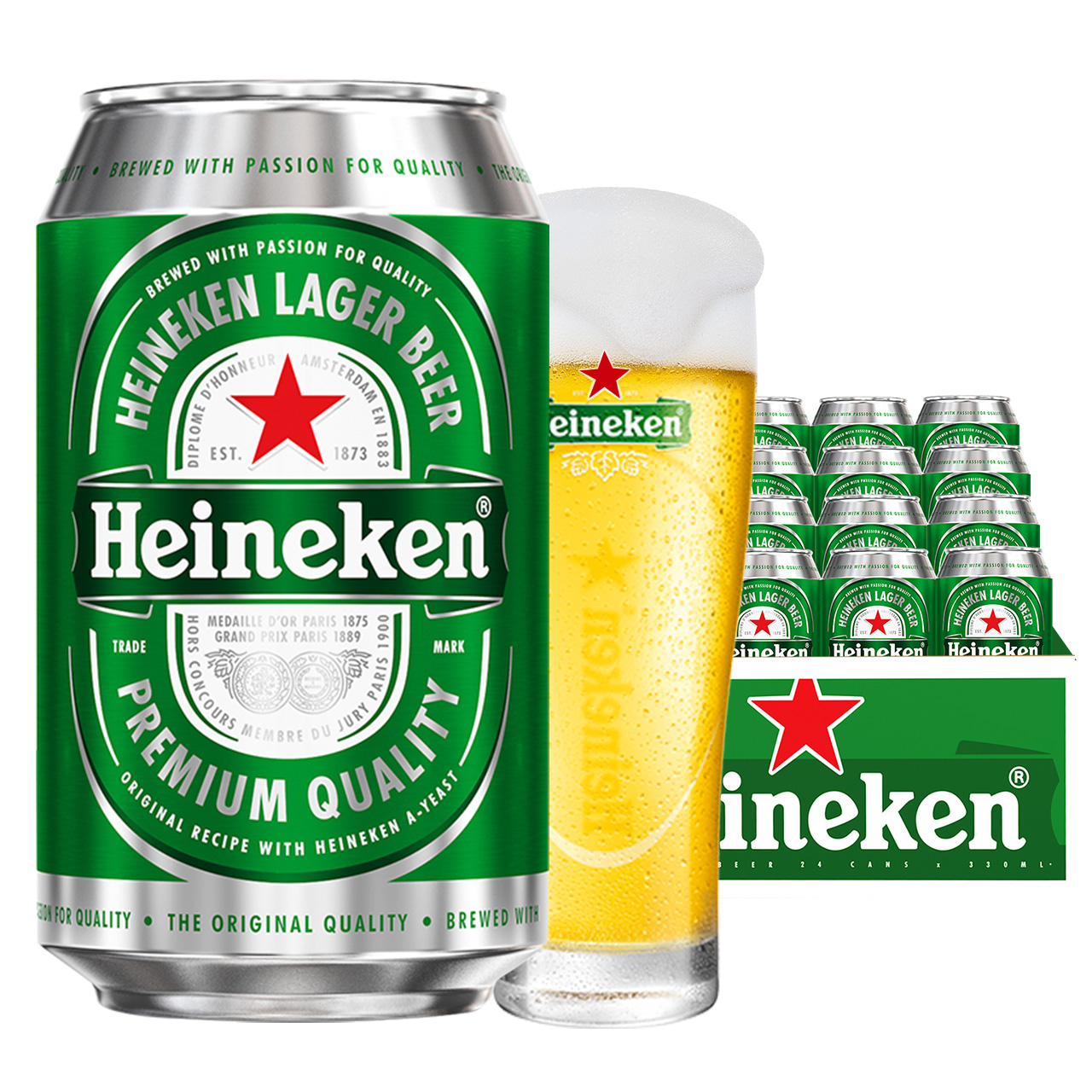 喜力Heineken拉罐啤酒330ml*24罐/箱 分享装 整箱装