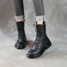 清轩2021新款女靴ye7美真皮马in底中筒靴单靴军靴侧拉链靴子