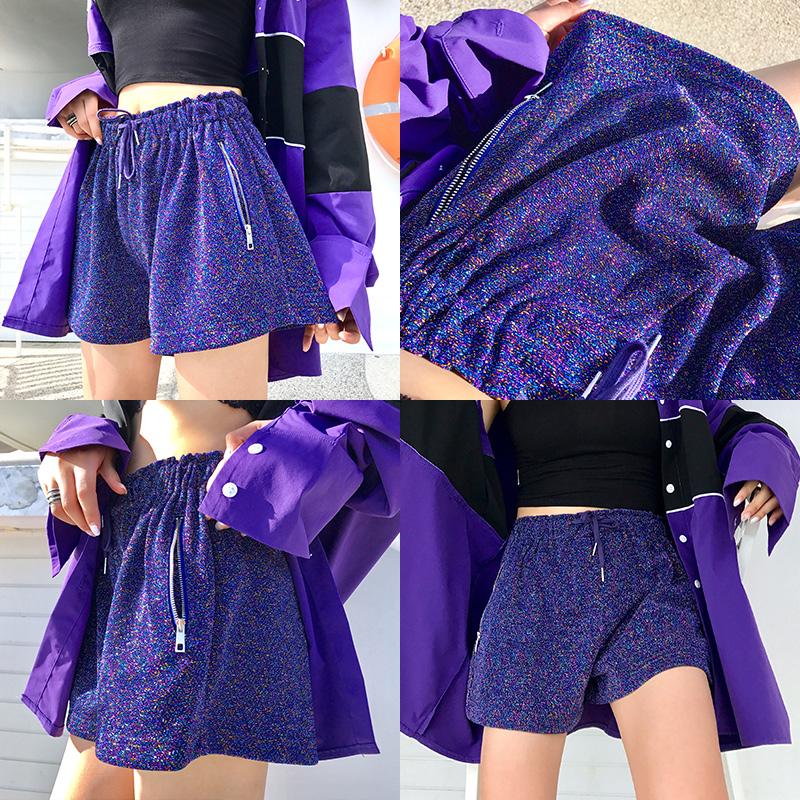 X-PANDA定制面料款紫色短裤女2018新款宽松高腰百搭热裤阔腿裤