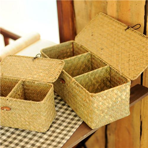 【尚��】海草收纳箱 长方形海草编织桌面收纳筐 带盖整理箱储物盒