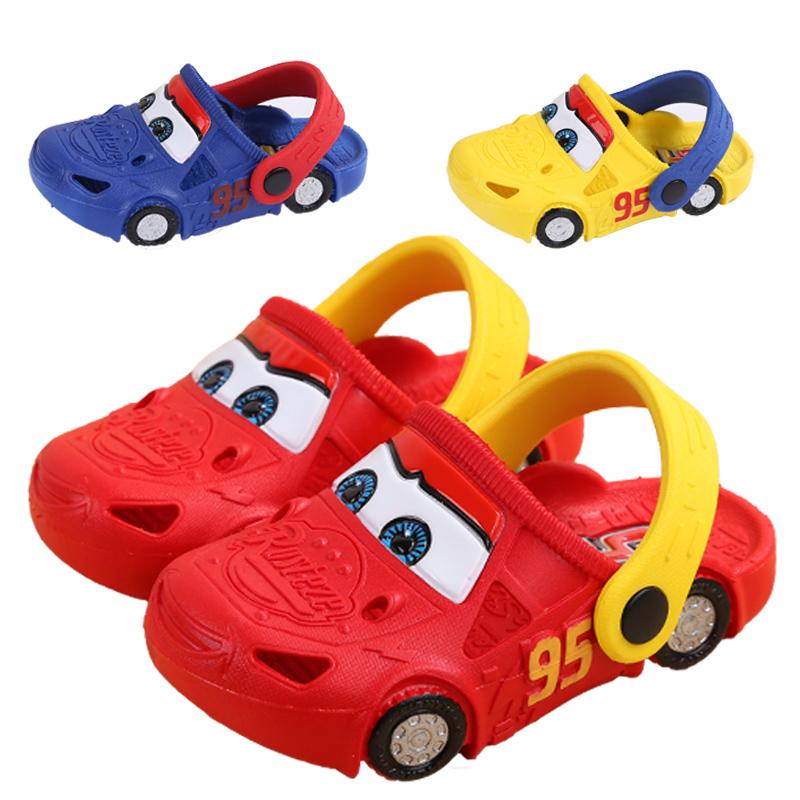 迪士尼夏季儿童透气小汽车洞洞鞋 男童软底浴室拖鞋防滑沙滩鞋