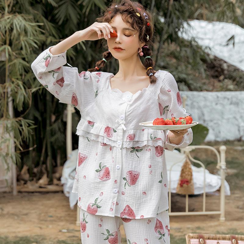 夏季新品纯棉孕妇睡衣吸汗透气牛奶草莓棉纱布月子服薄款产后哺乳