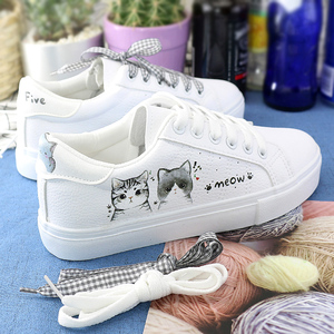 Little white shoes female white shoes autumn and winter wild canvas shoes 2019 new Korean student sneakers women's shoes plus velvet