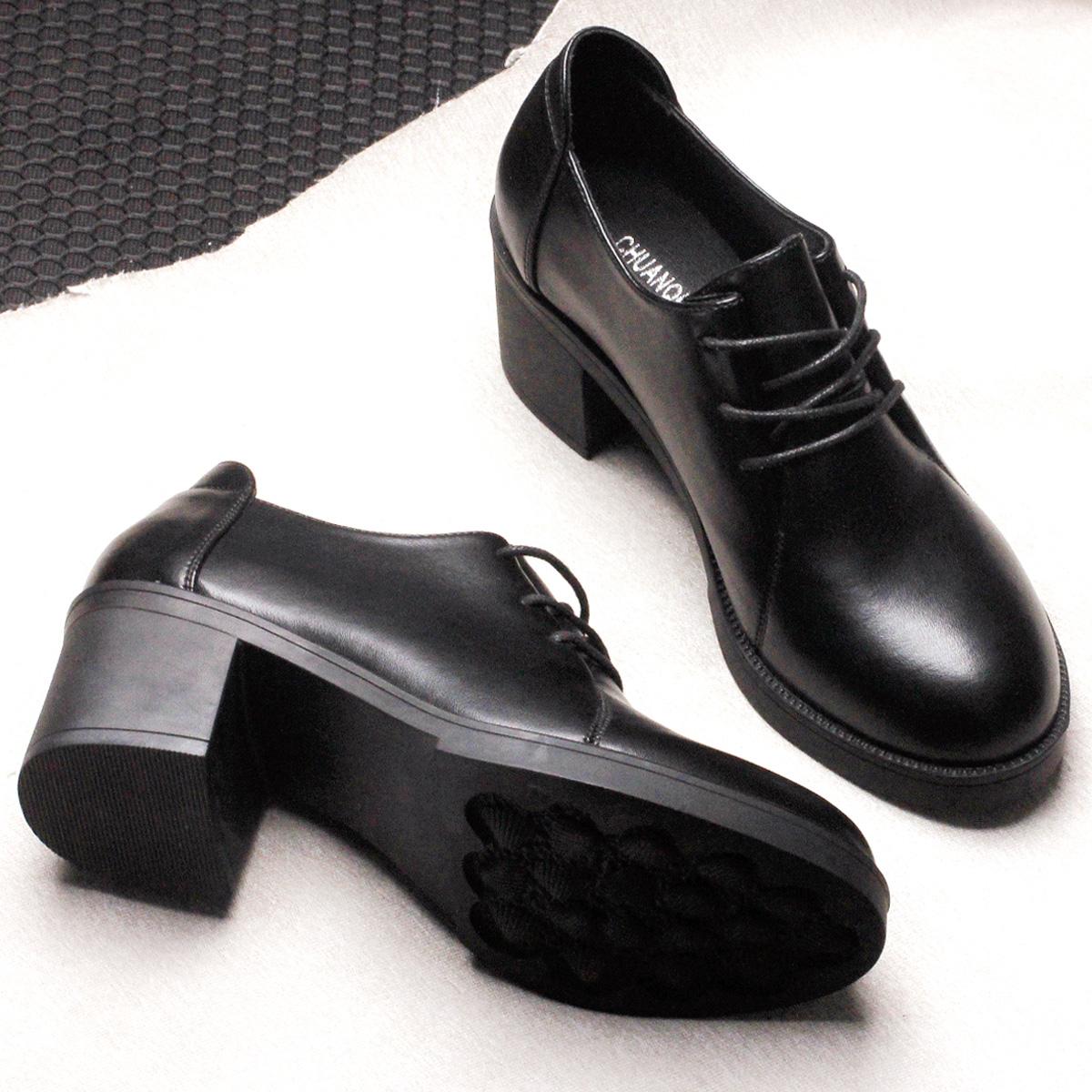冬季黑色小皮鞋女中跟上班工作鞋粗跟高跟单鞋职业正装系带女鞋秋