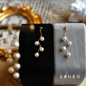 Original Handmade Beaded Earrings 14K Gold Swarovski Pearl Simple Short Japanese and Korean Temperament Earrings Ear Clip