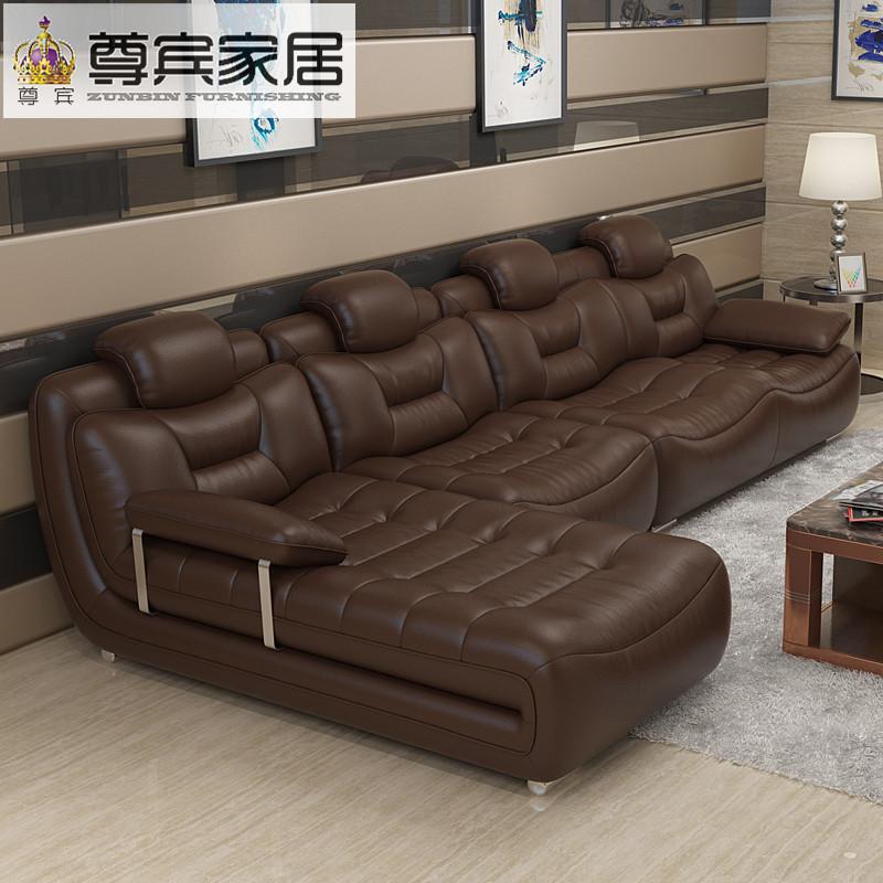 尊宾简约现代真皮沙发大小户型客厅皮艺沙发转角组合家具663