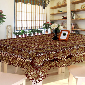 European-style embroidered hollow dining tablecloth coffee table cloth table flag placemat round rectangular tablecloth