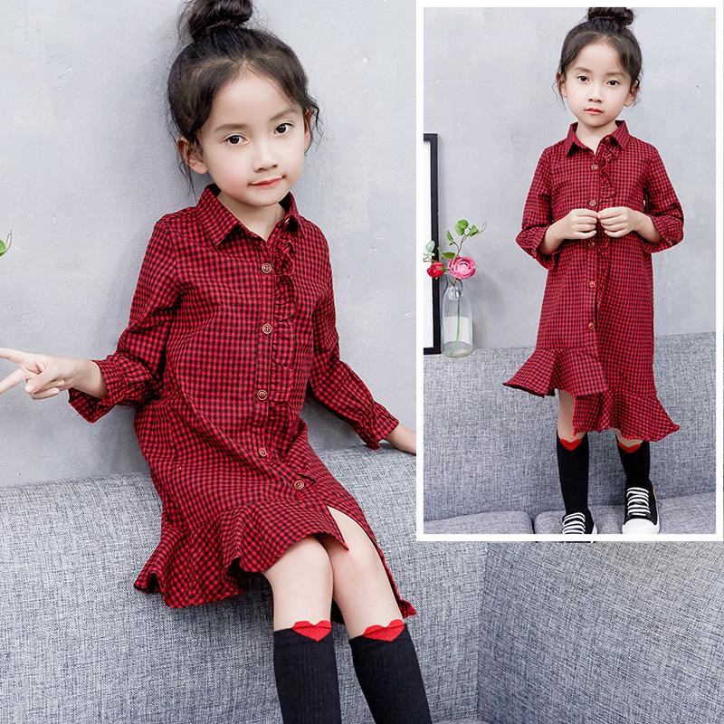 女童 春装 新款 连衣裙 小女孩 洋气 裙子 儿童 春季 长袖 格子裙