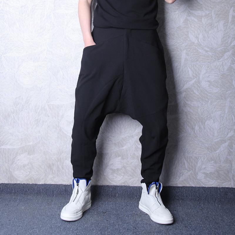 2020潮牌男装小脚吊裆裤嘻哈胯裆潮男哈伦裤弹力抗皱休闲裤男裤子