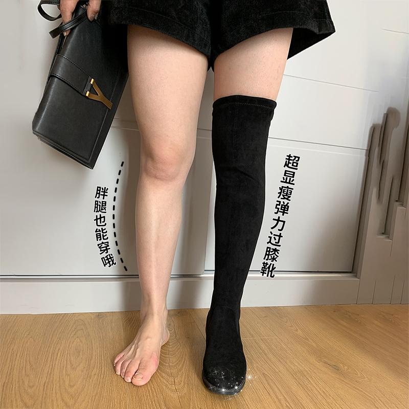 妹妹 弹力 秋冬 新款 绑带 长筒靴 时尚 过膝 长靴