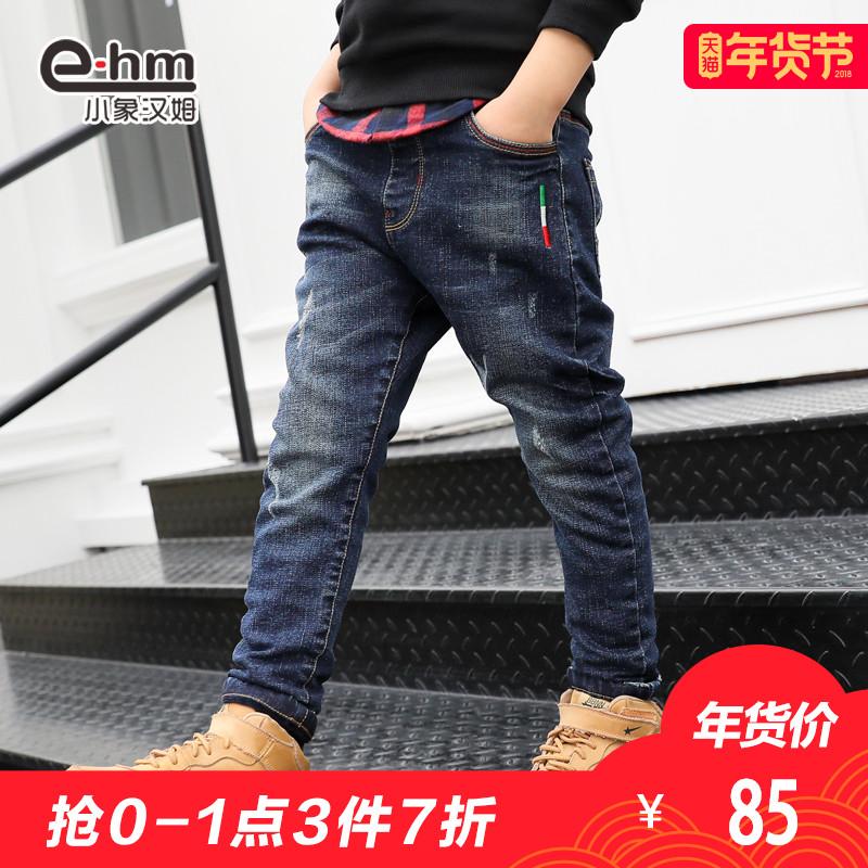 小象汉姆童装男童加厚长裤儿童冬装加绒牛仔裤男孩冬裤子2017新品