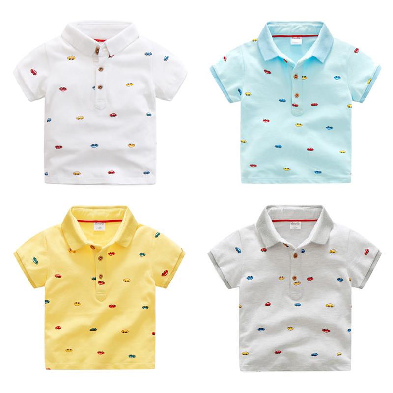 韩版小汽车儿童短袖T恤纯棉宝宝POLO衫薄款夏装新款童装男童上衣