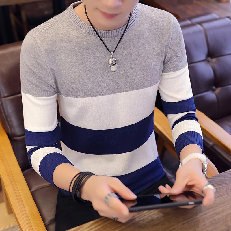 春秋季男士圆领长袖毛衣青少年韩版修身上衣潮男装新款学生针织衫