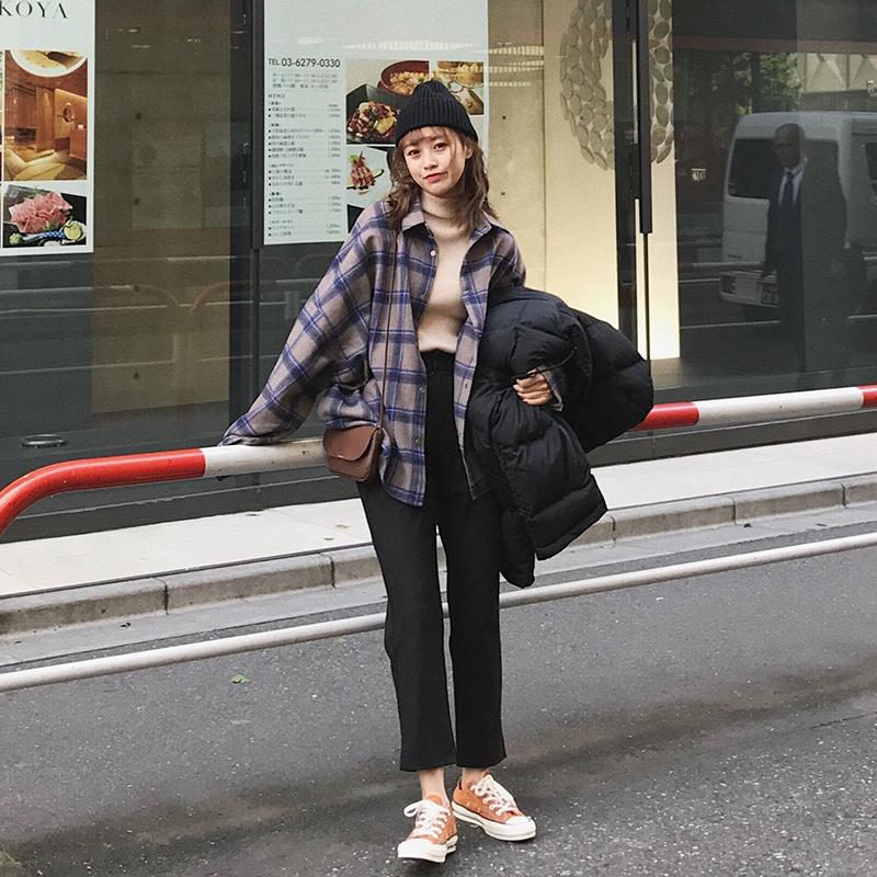 朴正义 2017秋冬新款韩版宽松休闲长袖衬衣女学生加厚格子衬衫