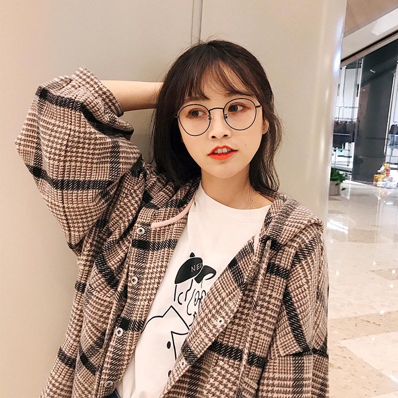 朴正义 2018新款春季韩版学院风百搭宽松格子衬衫学生连帽外套女