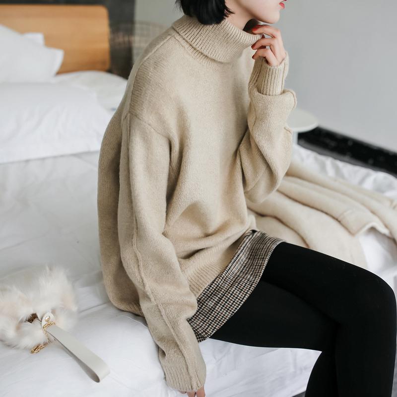 JHXC简约宽松高领长袖套头纯色毛衣女2017新款秋冬学生打底针织衫